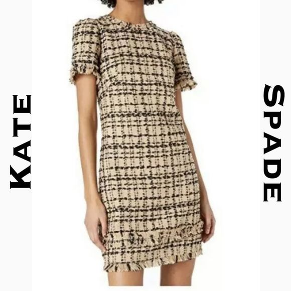 Kate Spade Heart It Bi-color Tweed Dress Size 14